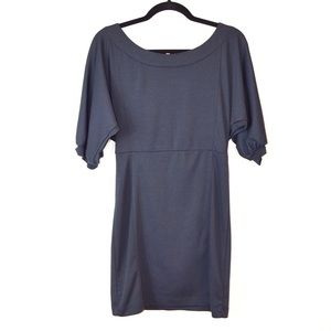 DVF Navy Blue Pencil Dress Dolman Sleeve Back Zip